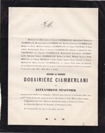 BEVEREN Alexandrine STAFFORD Baronne CIAMBERLANI 87 Ans 1879 Famille à Munster PAUWELS PELEMAN - Obituary Notices