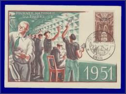 Algérie, Carte Maximum, Journée Du Timbre 1951 - Maximum Cards