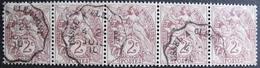 LOT R1752/230 - 1900 - TYPE BLANC - BANDE DE 5 TIMBRES - CACHET AMBULANT ☛ USSEL à CLERMONT Du 29 JUILLET 1910 - 1900-29 Blanc