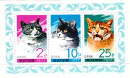 Korea Democratic People's Republic Scott 1609a 1977 Cats, Souvenir Sheet,mint Never Hinged - Korea, North