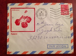Bâtiment Base Maine Tahiti SP 91407 1972 HIBISCUS - Storia Postale