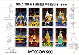 Korea Democratic People's Republic Scott 1997a 1980 Moscow Olympic Sheetlet,mint Never Hinged - Korea, North