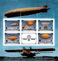 Korea Democratic People's Republic Scott 2249 1982 Bicentenary Of Manned Flight Sheetlet - Korea, North