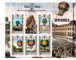 Korea Democratic People's Republic Scott 2255 1982 Bicentenary Of Manned Flight Sheetlet,mint Never Hinged - Korea, North
