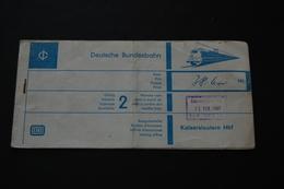 Billet De Train DEUTSCHE BUNDESBAHN 1967 - Autres