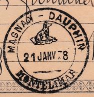 Montélimar Drôme 21 Janvier 1878 Magnan Dauphin Timbre Type Sage 15c - 1876-1898 Sage (Type II)