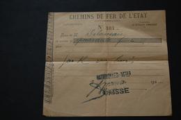 RECU Des CHEMINS DE FER DE L'ETAT 1927 - Transportation Tickets