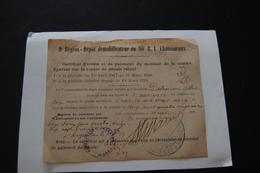 Certificat D'arrêté Et De Paiement 90ème R.I De CHATEAUROUX - Documents