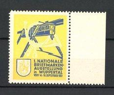 Vignette Publicitaire Wuppertal, 1. Nationale Briefmarken-exposition 1951, Schwebebahn - Cinderellas
