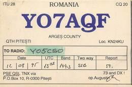 D1278 Radio Amateur QSL Card Romania Arges Pitesti - Radio Amateur