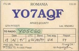 D1278 Radio Amateur QSL Card Romania Arges Pitesti - Roumanie