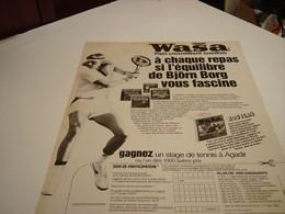 ANCIENNE AFFICHE PUBLICITE  PAIN CROUSTILLANT DE WASA AVEC BJORN BORG 1980 - Posters