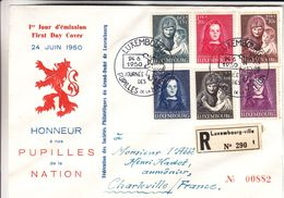 Luxembourg - Lettre Recom De 1950 - Oblit Luxembourg - Exp Vers Charleville - Cachet Dudelange - Valeur 300 € - Luxemburg