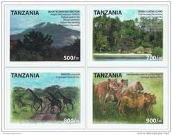 Tanzania 2011 Kilimanjaro Mountain Volcano Lion Giraffe MNH (self-adhevise) - Tanzanie (1964-...)