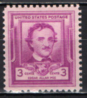 STATI UNITI - 1949 - EDGAR ALLAN POE (1809-1849) - SCRITTORE -  MNH - Stati Uniti
