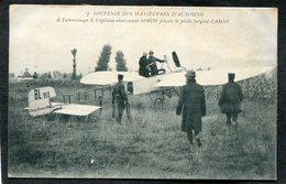 CPA - SOUVENIR DES MANOEUVRES D'AUTOMNE - A L'atterrissage, Le Capitaine SIMON Félicite Le Pilote CARON - Meetings