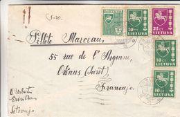 Lituanie - Lettre De 1937 - Oblit Erzvilkas - Exp Vers Orléans - Armoiries - Chevaux - épée - Lithuania
