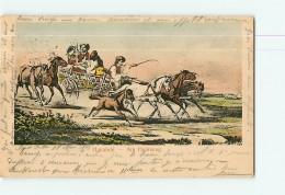 HONGRIE - HAZAFELE : Am Heimweg - De Retour - Belle Carte Illustrateur - Attelage Chevaux De Courses - Dos Simple - Hongrie