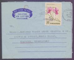 SINGAPORE Postal History, Aerogramme Used 26.3.1969 With Slogan Postmark & Flowers Stamp - Singapore (1959-...)