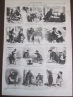 6   Gravure 1870 Le Mois Comique Par CHAM Dessin Caricaturiste  Politique - Vieux Papiers