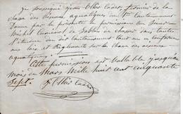 1857 - CHASSE AUX OISEAUX AQUATIQUES - Autorisation De J. OLLIER Cadet Fermier Du 1er Cantonnement - Documents Historiques
