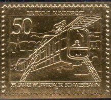 Raritäten In Gold BRD 881 ** 50€ Wuppertal Schwebe-Bahn Edition Deutschland 23Karat Feingold Train Stamp Of Germany - BRD