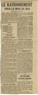1941 VICHY MILITARIA FRAGMENT Journal L'INDEPENDANT : Le Rationnement Pour Le Mois De Mai - Newspapers