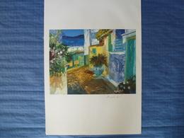 Lithographie Signée Pophillat - Les Ruelles - 64 X 45 Cm - Lithographies