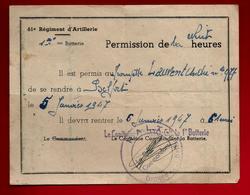 61° Régiment D'Artillerie Permission De Nuit Pour Trompette Laurent André Belfort 5-01-1947 - Militaria Soldat Musique - Unclassified