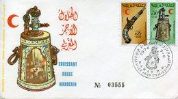 "Maroc,Morocco,Marruecos ; FDC 1974 ,n°708A,"" Croissant Rouge Marocain ; Croix Rouge "" - Morocco (1956-...)"