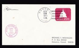 USA - Palau: Stationery Cover Koror To Hawaii, 1983, 2 Different Cancels, Rare (minor Discolouring) - Palau