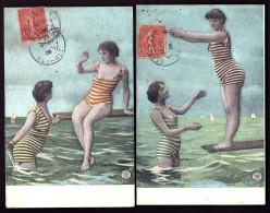 LOT 2 CPA ANCIENNES FRANCE-  LES BAIGNEUSE DE SÉRIGNAN (34)- COSTUMES RAYÉS- TRES GROS PLAN- LE PLONGEON - Costumes