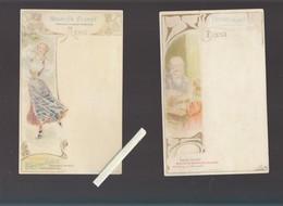 Menu - Art Nouveau - Biscuits Olibet - Lot De 2 - Palais Des Glaces Et Enfant Jouant Dominos - Menus