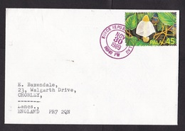 Palau: Cover Koror To UK, 1989, 1 Stamp, Mushroom, Fungus, Rare Real Use! (traces Of Use) - Palau