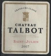 39 étiquettesChateau Talbot  Saint Julien  De  2007 - Vino Tinto