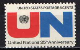 STATI UNITI - 1970 - 25° ANNIVERSARIO DELL'ONU - MNH - Stati Uniti