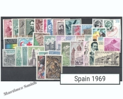 Complete Year Set Spain 1969 - 51 Values - Yv. 1558-1609B / Ed. 1898-1948, MNH - España