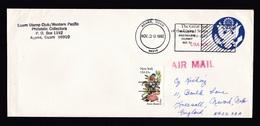 USA - Guam: Stationery Cover Agana To UK, 1982, Extra Stamp, Pre-cancel, Precancel, Postmark Permit (traces Of Use) - Guam