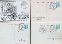 Entiers, CP 8f Gandon Turquoise, TSC Exposition Philatélique Bordeaux, Oblitération Commémorative Du 12 Mai 1951 - Entiers Postaux