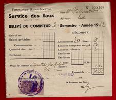 Relevé Service Des Eaux Fontaines Saint Martin 9-08-1942 Pour Mr Bonnet - Cachet Mairie - 1900 – 1949