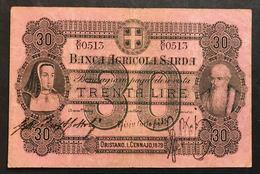 BANCA AGRICOLA SARDA 30 LIRE 1879 RARO BB+ Forellini LOTTO 1779 - Other