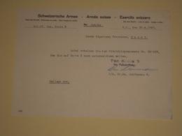 Ww2 30 Avril 1945 Document Armée Suisse Sur Une Carte De Réfugié - Schweizerische Armee Polizeioffizier Wm Schönmann - 1939-45