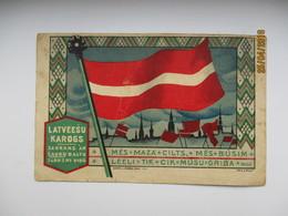 LATVIA  RIGA , LATVIAN FLAG 1919  , OLD POSTCARD   , O - Latvia