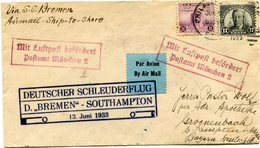 ETATS-UNIS LETTRE PAR AVION AVEC CACHET DEUTSCHER SCHLEUDERFLUG D. BREMEN - SOUTHAMPTON DEPART PHILADELPHIA JUN 7 1933.. - 1c. 1918-1940 Covers