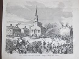 Le Creuzot   2 Anciennes  Gravures  1870  La Grève  Du Creuzot   Place De L église  Mine Mineur - Old Paper