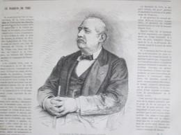 Gravure 1870   Le Marquis Du Piré  Rennes  Félix Ribeyre - Vieux Papiers