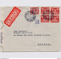 NETHERLANDS 1941 NAZI CENSORED EXPRESS MAILED COVER TO BREMEN - Lettres & Documents