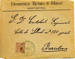 Carta De Siguenza (Guadalajara) A Barcelona 1891 Sellos Pelón. Lettre, Cover. Ver 2 Scan. Edifil 219 - Storia Postale