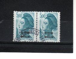 St Pierre & Miquelon--N°468-- 5.00 F Bleu-vert En Paire //Liberté De Gandon - St.Pierre & Miquelon