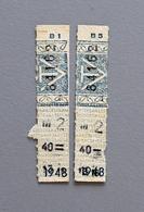 2 Tickets Papier Bleu DesTramways De Versailles 1948 Coll Schnabel - Tram